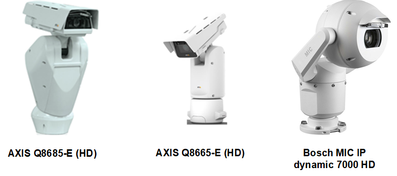 Supported PTZ cameras include models from Axis and Bosch.